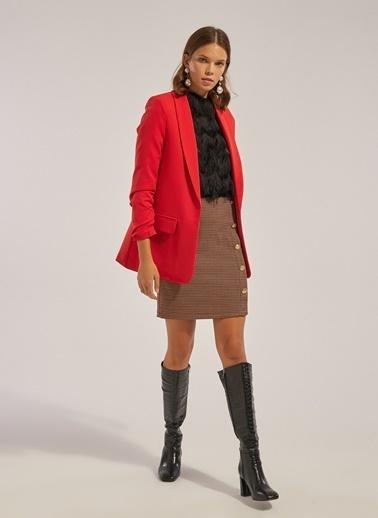 Monamoda Kolu Büzgülü Astarlı Blazer Ceket Kırmızı